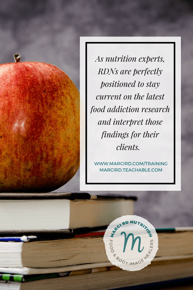 Food addiction resources for registered dietitians. Marci provides the research on food addiction